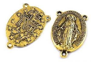 Spojka na růženec 23 mm, antik zlatá