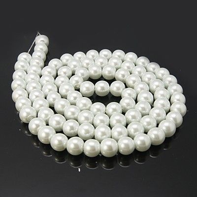 Voskované perle 12 mm, 34 ks, bílé