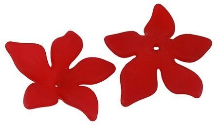 Akrylový květ 29 mm, 2 ks, červený