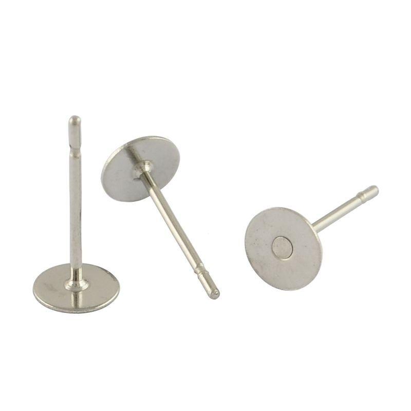 Puzeta s ploškou k nalepení 4 mm, 50 ks, chirurgická ocel