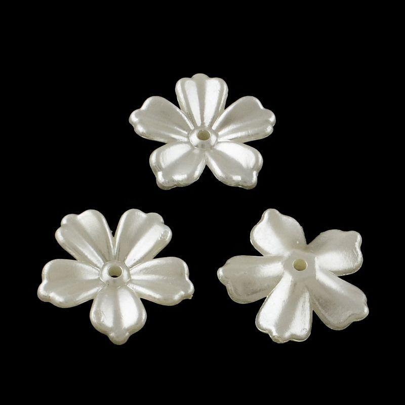 Akrylový květ perleťový 20x20 mm, 2 ks