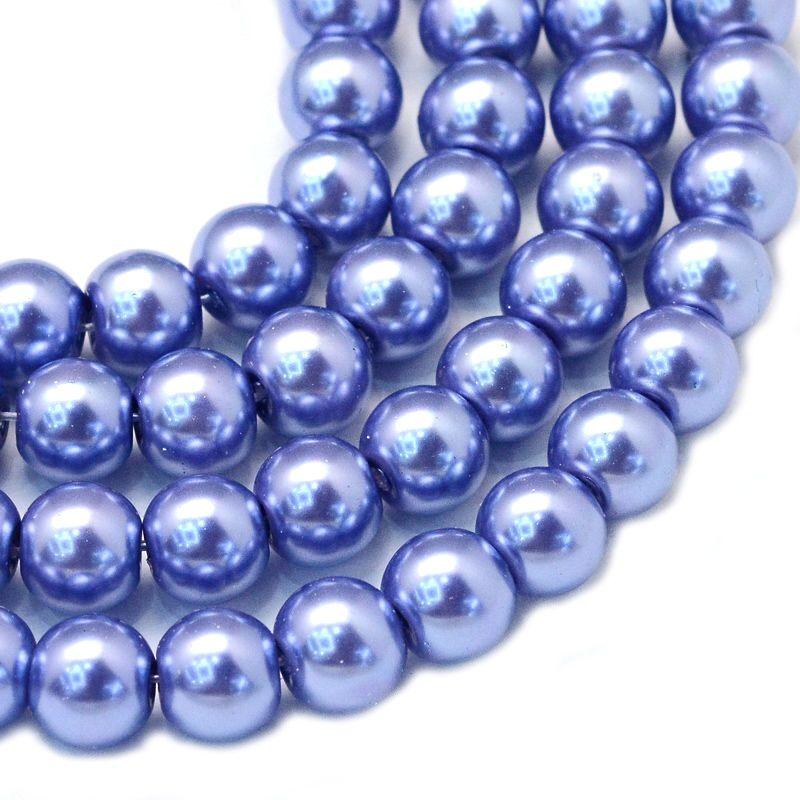 Voskované perle 6 mm, 146 ks, fialovomodrá