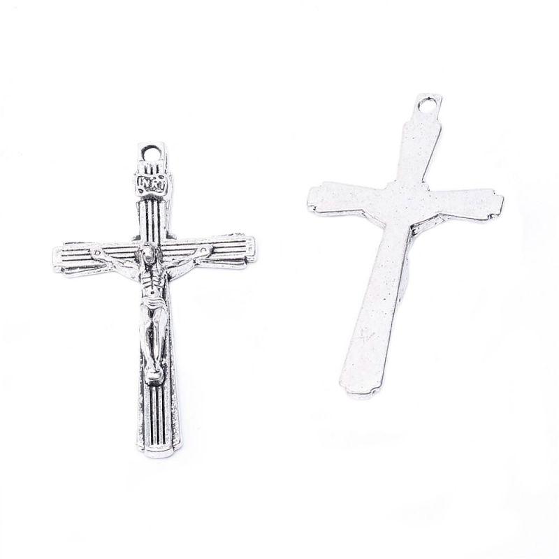 Kříž s Ježíšem 43x25 mm, starostříbrný