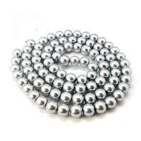 Voskované perle 6 mm, 146 ks, stříbrošedé