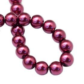 Voskované perle 6 mm, 146 ks, fialovočervená