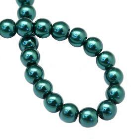 Voskované perle 6 mm, 146 ks, modrozelená