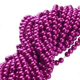 Voskované perle 6 mm, 146 ks, fuchsiová