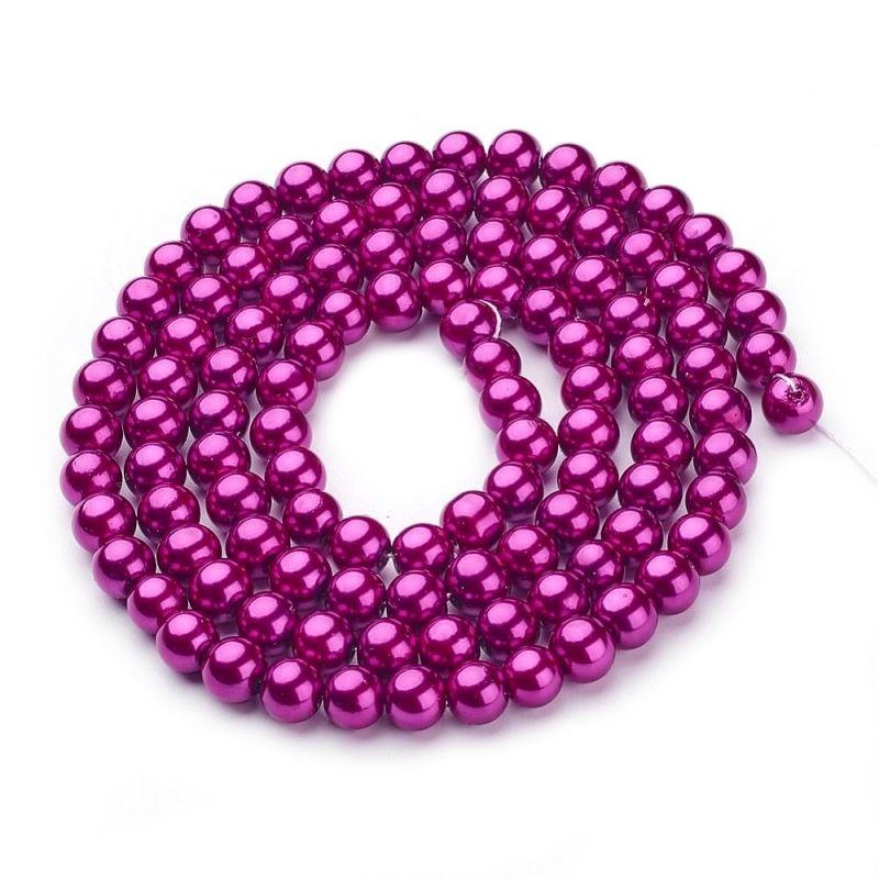 Voskované perle 4 mm, 210 ks, fuchsiová