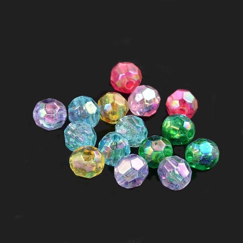 Akrylové korálky s AB pokovem 8 mm, 50 ks, mix barev s AB