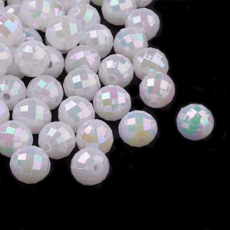 Akrylové korálky s AB pokovem 6 mm, kulaté, 50 ks, perleťové s AB pokovem
