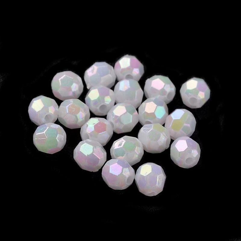 Akrylové korálky s AB pokovem 8 mm, oválné, 50 ks, perleťové s AB pokovem