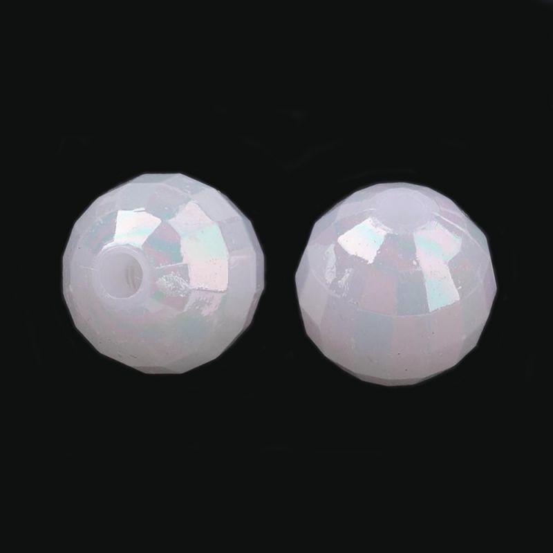 Akrylové korálky s AB pokovem 8 mm, kulaté, 50 ks, perleťové s AB pokovem