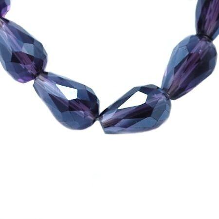 Broušený drop 11x8 mm, 60 ks, tmavě fialový