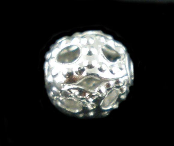 Filigránový korálek 4 mm, 20 ks, stříbrný