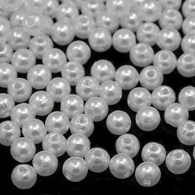 Imitace perly  4 mm,  100 ks, bílá