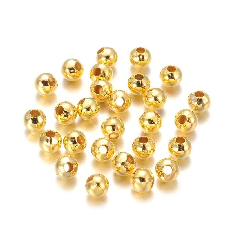 Korálek 2 mm, 100 ks, zlatý