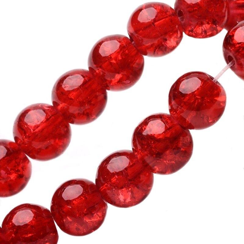 Skleněné korálky krakelované 8 mm, 100 ks, červené