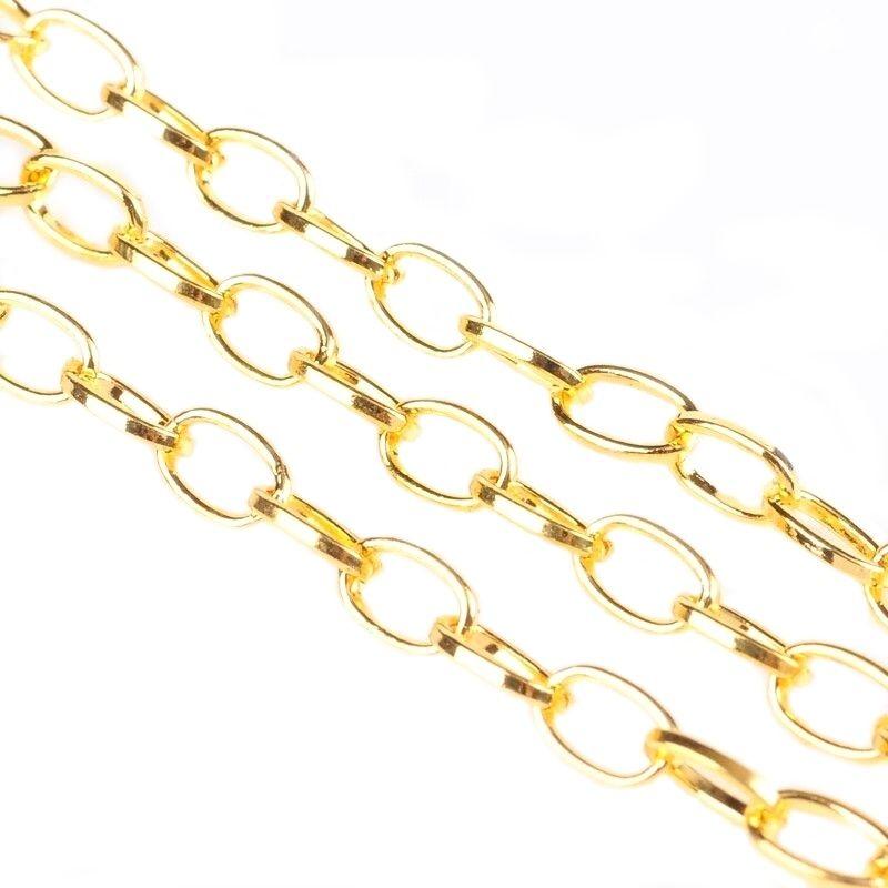 Řetízek s rovnými oky 7 mm, 1m, zlatá
