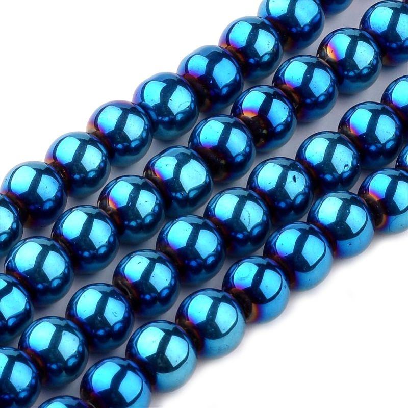 Skleněné korálky 6 mm, 56 ks, modrý pokov