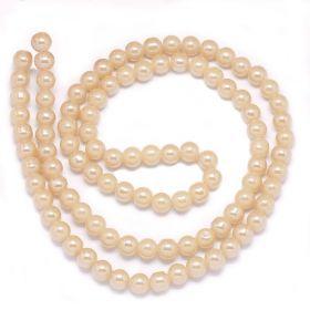 Skleněné korálky 6 mm, 62 ks, perlově béžová