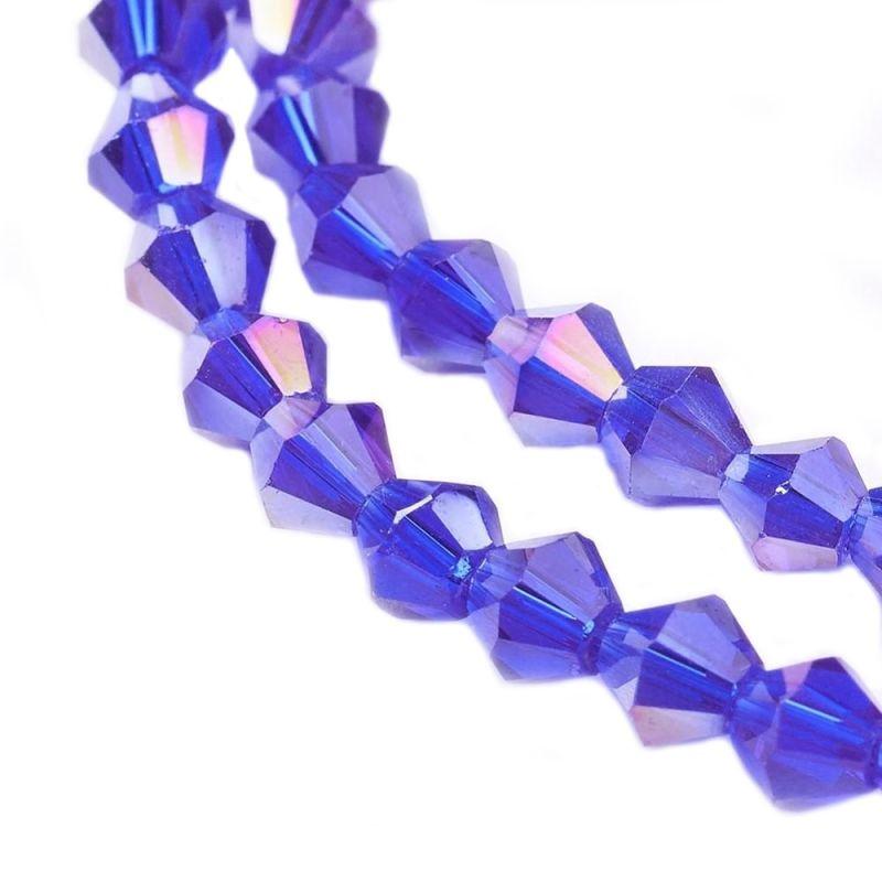 Sleněné sluníčko 4 mm, 118 ks, modrofialová s AB pokovem