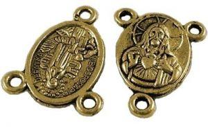 Spojka na růženec 19x15 mm, 20 ks, antik zlatá