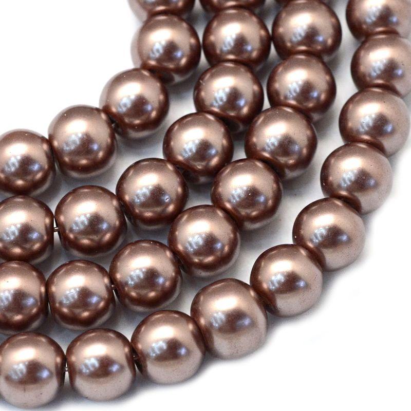 Voskované perle 6 mm, 146 ks, světle hnědé