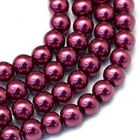 Voskované perle 8 mm, 106 ks, fialovočervená