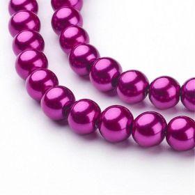 Voskované perle 8 mm, 106 ks, fuchsiová