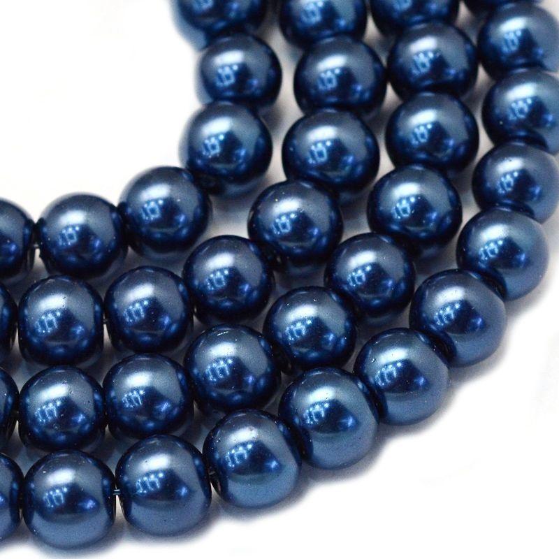 Voskované perle 8 mm, 106 ks, tmavě modrá