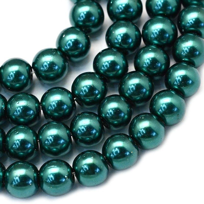 Voskované perle 8 mm, 106 ks, modrozelená