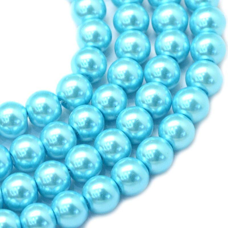 Voskované perle 8 mm, 106 ks, tyrkysové