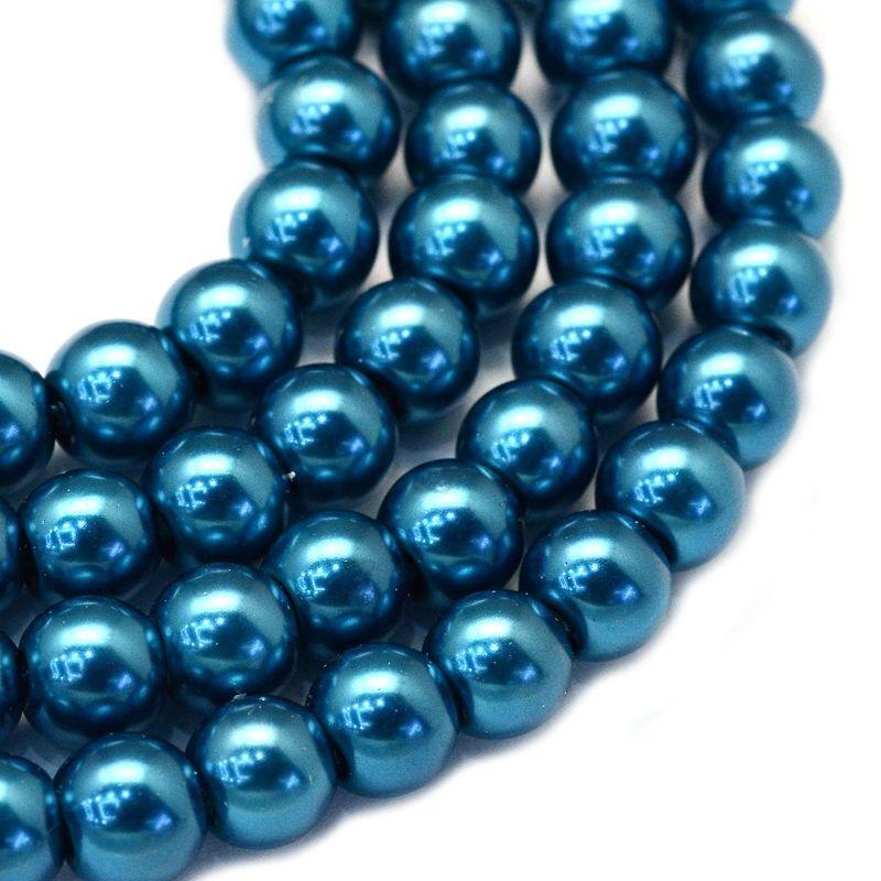 Voskované perle 8 mm, 106 ks, zelenomodrá